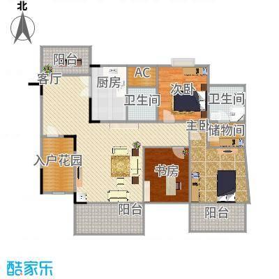 自由地113方A1户型三室两厅