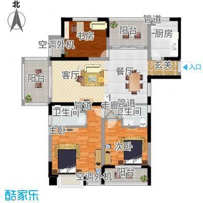 红豆香江豪庭125.00㎡一期1-5号楼标准层A1户型-副本