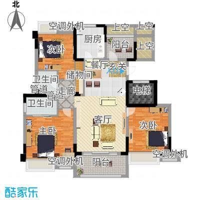 红豆香江豪庭138.00㎡一期1-5号楼标准层C1户型-副本