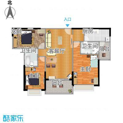 恒大翡翠华庭132.37㎡1号楼B户型3室2厅2卫-副本