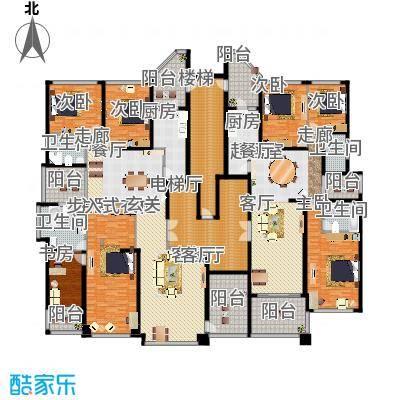 恒大华府2栋1单元标准层平面示意图户型7室1厅4卫2厨-副本