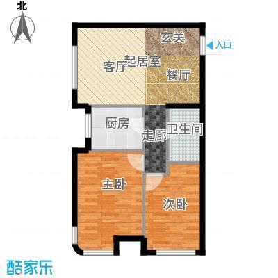 御园80.11㎡二室两厅一卫80.11平米户型图户型2室2厅1卫-副本