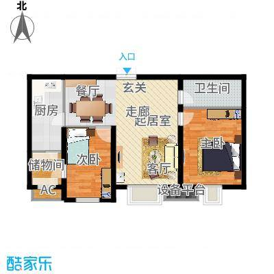 尚层名筑91.50㎡B2-91.5-两室两厅一卫户型-T-副本