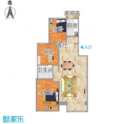 龙跃苑四区的户型图-原木+白色