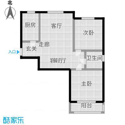 澜点家园两室两厅一卫 95㎡户型2室2厅1卫-副本