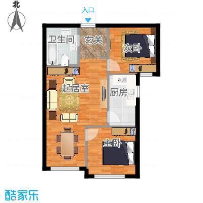 御园83.82㎡二室两厅一卫83.82平米户型图户型2室2厅1卫-副本