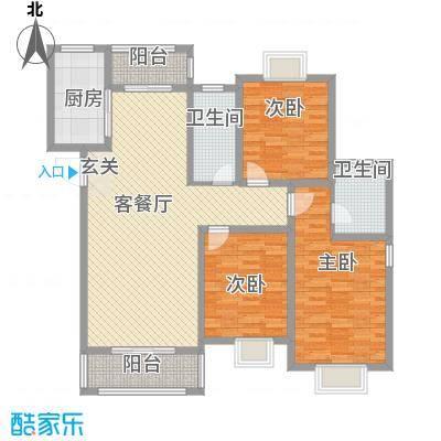 恒盛泰晤士印象12.00㎡6#楼D1户型3室2厅2卫1厨