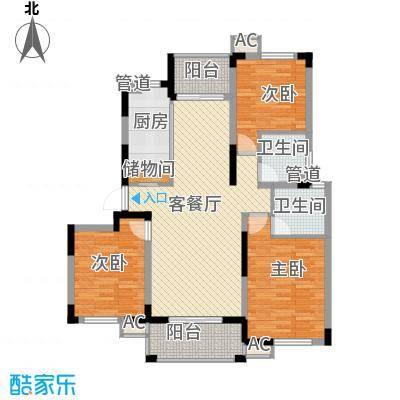 浦发领秀城128.55㎡3#、7#东户B1户型3室2厅2卫1厨