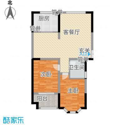 圣兰菲诺一期高层27-A2户型2室2厅1卫1厨