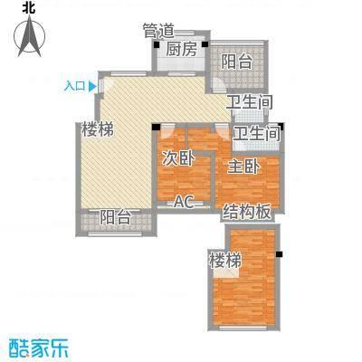 天瑞绿洲142.41㎡多层洋房C5户型2室2厅2卫1厨
