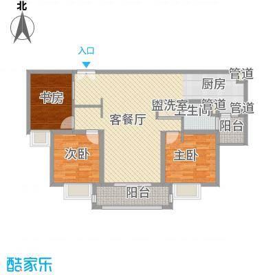 爱法山水国际12.00㎡B户型3室2厅1卫1厨