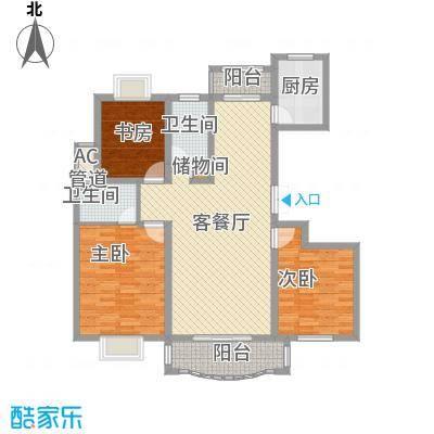 爱法山水国际14.00㎡G户型3室2厅2卫1厨