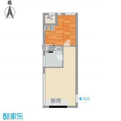 通商华富国际广场51.00㎡酒店式公寓M户型1室1厅1卫1厨