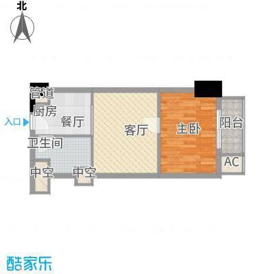 通商华富国际广场55.00㎡酒店式公寓J户型1室1厅1卫1厨