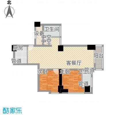 通商华富国际广场112.00㎡酒店式公寓H户型2室2厅1卫1厨