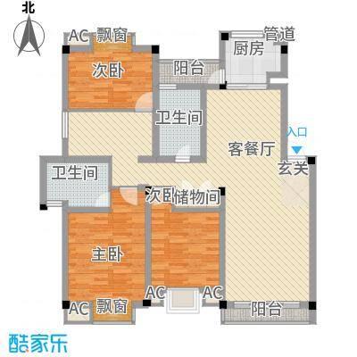江海皇都147.00㎡D型户型3室2厅2卫1厨