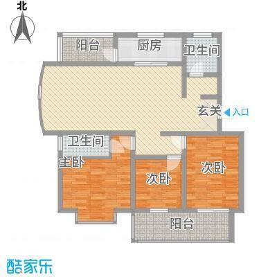 冠蒙・阳光新城132.67㎡3号楼户型3室2厅2卫1厨
