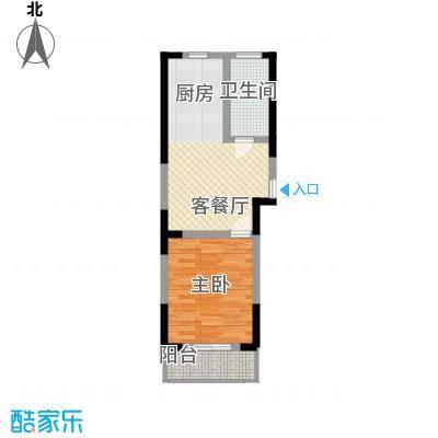 盛鑫金桥世家57.00㎡高层A户型1室1厅1卫