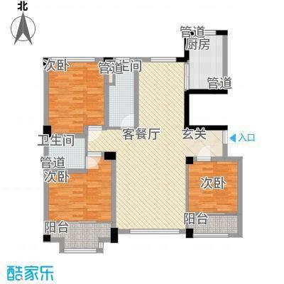 高新・锦绣北山133.50㎡小高层B6户型3室1厅1卫1厨