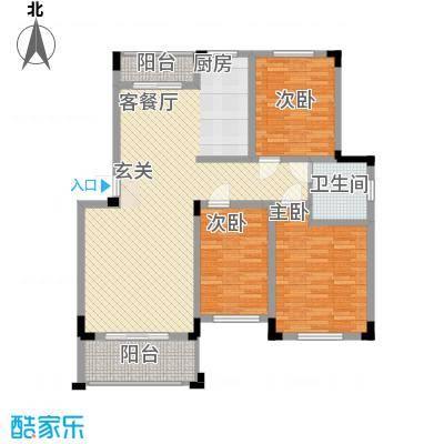 金涛国际华城11.28㎡二期A2户型3室2厅1卫1厨