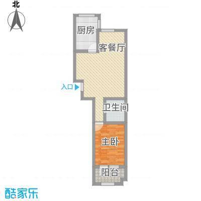 隆苑丽舍73.24㎡一期C标准层户型1室2厅1卫1厨