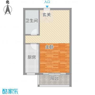 水岸新城61.00㎡1#户型1室1厅1卫1厨
