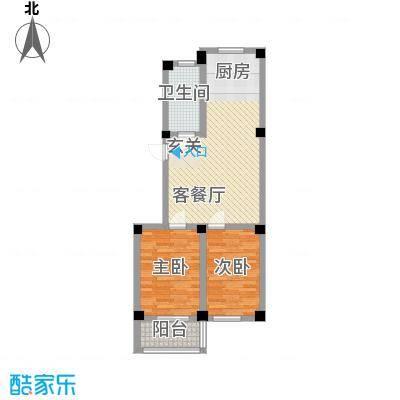华庭美第87.00㎡多层A2户型2室2厅1卫1厨