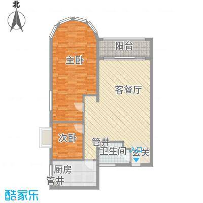 国际海景城117.36㎡户型2室2厅1卫1厨