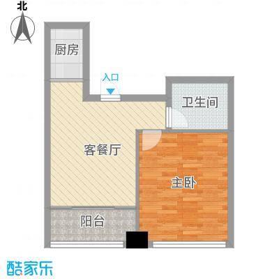 龙海国际6.20㎡G户型1室1厅1卫1厨