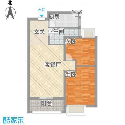 金都花园三期香榭丽都86.30㎡清韵花境标准层G5户型2室2厅1卫1厨