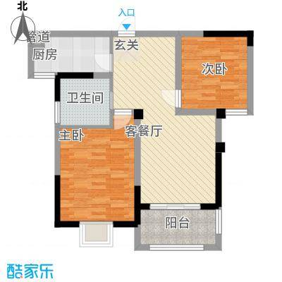 新都国际85.00㎡B1户型2室2厅1卫1厨