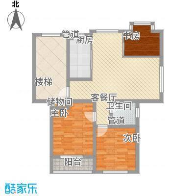 正棋山1号88.00㎡二期多层C2户型3室2厅1卫1厨