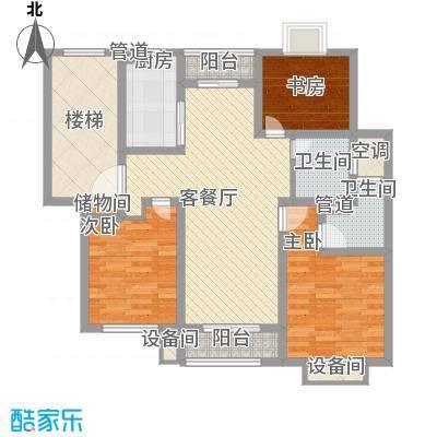 正棋山1号118.00㎡二期多层三居室户型3室2厅2卫1厨