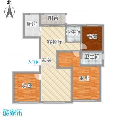宝华・天泽府143.10㎡F户型3室2厅2卫1厨
