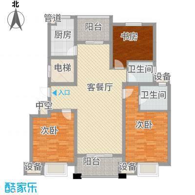 晟地润园128.13㎡F户型3室2厅2卫1厨