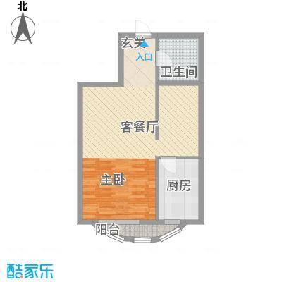 金城尚珑海域64.86㎡户型2室1厅1卫1厨
