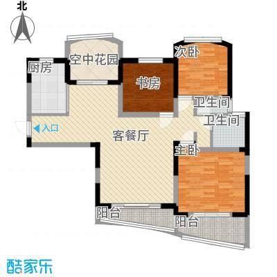 广信百度城12.80㎡二期B-1户型3室2厅1卫1厨