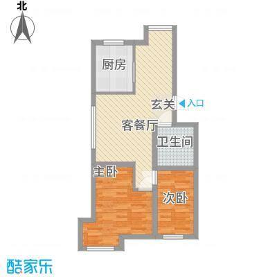 杨家滩花园75.20㎡户型2室2厅1卫1厨