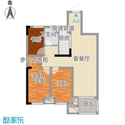 民生・瞰江郡6.00㎡B1户型3室2厅1卫