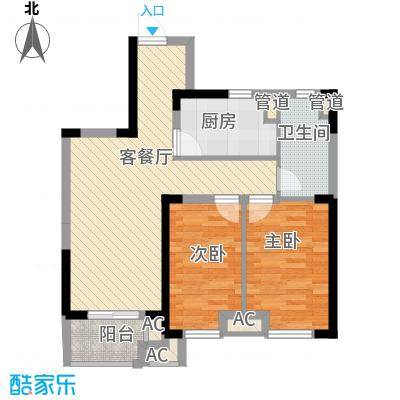 民生・瞰江郡8.00㎡B2户型2室2厅1卫