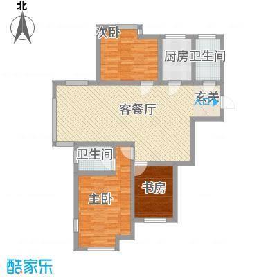 杨家滩花园117.77㎡户型3室2厅1卫1厨