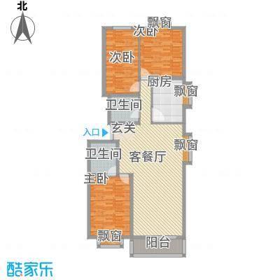 时代海景11.26㎡多层7、8号楼I户型3室2厅2卫1厨