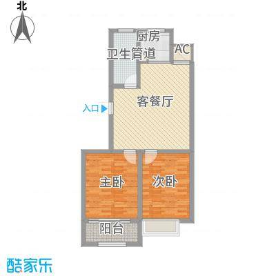 和谐家园87.80㎡整体开发高层B15户型2室1厅1卫1厨