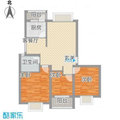 健康花园6.37㎡户型3室2厅1卫