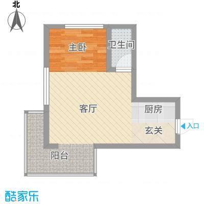 苹果家园51.00㎡户型1室1厅1卫1厨