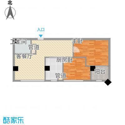韩国城83.44㎡B户型2室2厅1卫1厨