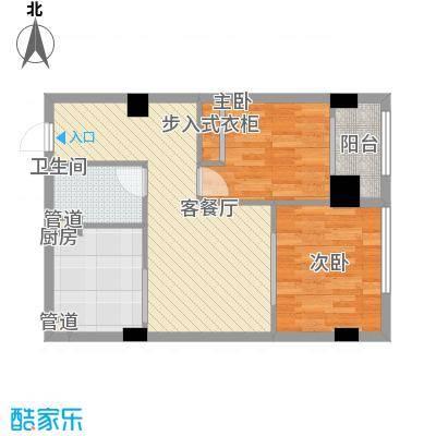 韩国城77.00㎡A户型2室2厅1卫1厨