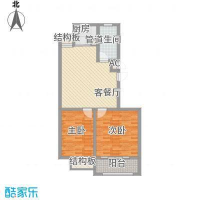 和谐家园88.25㎡整体开发高层B15户型2室1厅1卫1厨