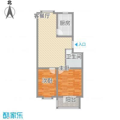 贵和花园78.00㎡户型2室2厅1卫1厨