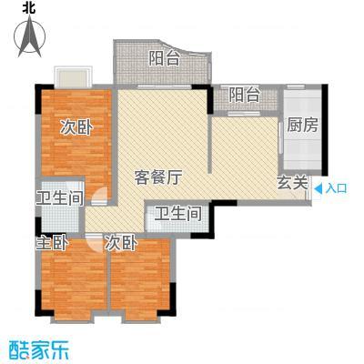 云湖花园户型3室2厅2卫1厨